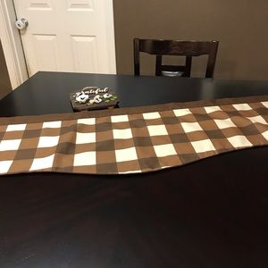 """Gingham Scallop Brown Valance 50"""""""